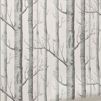 Wholesale Birch Woods - Birch Tree pattern non-woven woods wallpaper roll modern designer wallcovering simple black and white wallpaper for living room