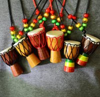 Wholesale Wood Necklaces For Men - Ethnic Style African Drum Wood Pendant Charm Necklace Hand-made Jewelry For Women Lady Men