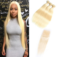 Wholesale blonde hair online - Brazilian Straight Human Hair Bundles With Closure Unprocessed Virgin Hair Bundles With Lace Closure Honey Platinum Hair Extension