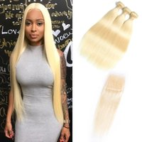 Wholesale brazilian human hair weave - Doheroine Brazilian Straight Body Wave Human Hair Weave Bundles Blonde Human Hair Bundles With Closure Honey Platinum virgin Hair