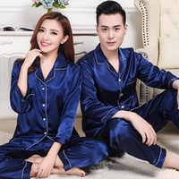 Wholesale Silk Sleepwear Sets - Lovers Silk Pajamas Set Couples Long Sleeve Underwear Solid Color Home Apparel Lingerie Men Women Sleepwear Night Gown