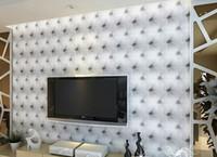 ingrosso pelle di muro-Moda Hot 10 metri / lotto ecopelle morbida borsa 3d carta da parati in PVC bianco comodino divano tv sfondo muro carta da parati papel de parede