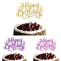 gâteau d'anniversaire violet achat en gros de-10pcs / lot joyeux anniversaire gâteau Topper or argent violet drapeaux de gâteau Fushia fête d'anniversaire gâteau cuisson Décor Babyshower drapeaux