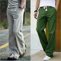 Wholesale Fresh Leg - new mens Leisure linen pants men's cotton breathable fresh loose linen trousers linen trousers paragraph free shipping