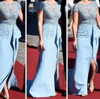 Wholesale Emmy Celebrity Dresses - Short Sleeve Celebrity Dresses 2015 Sheath Zuhair Murad Sheer Lace Top Low Back Slit Ruffles inspired by Sofia Hellqvist Royal Pre-Wedding