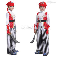 Wholesale Caribbean Party Games - Wholesale-Vintage cosplay Pirates of the Caribbean children's costume Little Pirate Captain fantasia Halloween party clothing