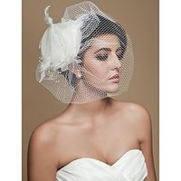 Wholesale tulle feathers bridal veil resale online - in stock Bridal Veils cheap beautiful Gorgeous Tulle With Beading Feather Wedding Bridal Veils Headpiece