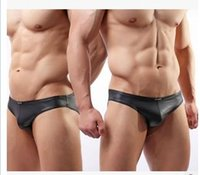 Wholesale Wholesale Underwear China - Brand Men Briefs Underwears China Sexy Gay Underwear Underpants Male Bodysuit Swimwear Faux Leather Swimming Trunks Bikini Panties