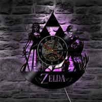 Wholesale Popular Records - Zelda Theme Best creative Gifts Home Decor Popular Vintage Retro Wall Art Decal Sticker Black DIY 3D Led Backlight Vinyl Record Wall Clock