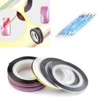 Wholesale Tapes Dots Nail - Wholesale-Big Promotion 28Color Nail Art Stripe Striping Tape Line Decoration Sticker+5x2Way Dotting Pen