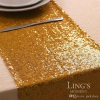 tabela de lantejoulas de ouro venda por atacado-20 pçs / lote Moda Ouro Lantejoulas Corredores De Mesa De Ouro 11.8