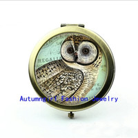 Wholesale Metal Antique Pocket Mirror - New Arrival Regal Owl Compact Mirror Art Picture Antique Pocket Mirrors Vintage Compact Mirror--00289