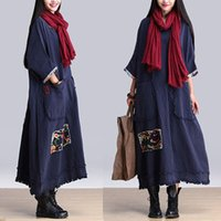 Wholesale Gowns Ancient - 2015 autumn dress original literary patch tassel dress loose big yards long cotton and linen robe restoring ancient ways personality s1027