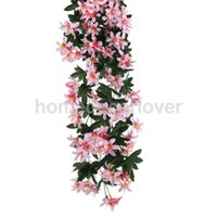 Vente en gros- 1 Bouquet de soie suspendus plantes artificielles Lily Flower Garland Party Decor rose