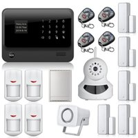 Wholesale Gsm Camera Alarm Systems - G90B WiFi alarm Internet GSM GPRS SMS OLED Home House Security Alarm System APP Control + IP Camera wifi App Integrated In Alarm App