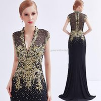 Wholesale Long Dresses For Dinner - actural photos sexy split heavily embroideried gold lace black Arabic evening gowns 2018 mother of the bride dresses for party dinner