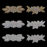 Wholesale Bling Flower Flatback - 20pc Handmade Bling Beaded Rhinestone Applique Sew On Manual Flatback Crystal Flower Headwear Cloth Applique For Kids Hair Accessories