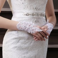 Wholesale Sheer Wrist Length Gloves - New Design 2015 Cheap In Stock Lace Appliques Fingerless Wrist Length With Ribbon Bridal Gloves Wedding Accessories