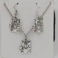 Wholesale Cute Piggies - Hot ! Jewelry Set , Antique silver * CUTE PIG PIGGY FLOWER * Gift Set Necklace Earrings Jewelry Set (ab700)