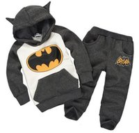 Wholesale Gilrs Coats - New Arrive Spring Autumn Gilrs boys Batman Sweater Pants sports suit tracksuits coats children kids Jackets sweatshirt trousers 2 pieces set