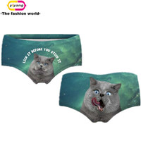 Wholesale Womens Cute Panties - Two-Sided Printing 3D Cute Animals Womens Underwear Cat Panties Ladies Fashion Women's Briefs Wholesale New High Quality 00639