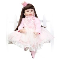 "Wholesale Reborn Doll Dresses - Wholesale- NPK 28"" Reborn Baby Doll Realistic princess Girl silicone Vinyl Baby Cute Alive Bebe Toddler boneca+pink Dress"