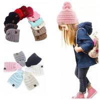 Wholesale Cc Baby - 2 style Baby Hats CC Trendy Beanie Crochet Fashion Beanies Outdoor Hat Winter Newborn Beanie Children Wool Knitted Caps Warm Beanie