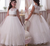 Wholesale Pink Rhinestones Trim - Lace Flower Girl Dresses Princess White Champagne Ribbon Trim Bow Illusion Neckline Covered Buttons Back Custom Made Pageant Gowns 2015