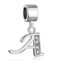 Wholesale Silver Plated Initial Charms - Pandora style A-H crystal A B C D E F G H alphabet letter dangle European spacer bead metal initial charm for beaded bracelet