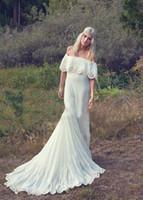 Wholesale Sexy Cream Dresses - 2015 Bohemian Wedding Dresses Plus Size Off The Shoulder Hippie Bridal Dress Cream Ivory Court Train Lace And Appliques Ruffle Bridal Gowns
