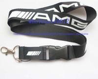 ingrosso badge per auto-Spedizione gratuita 10 pezzi Nuovo! AMG car Lanyard Keychain Portachiavi ID Badge portacellulare Neck Strap in bianco e nero.