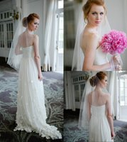 Wholesale Sweetheart Natural Waist White Dresses - 2015 Simple Pure White Wedding Dresses Sweetheart Chiffon Appliqued Beach Wedding Dress Sweep Trains Natural Waist A Line Bride Gowns