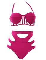Wholesale Push Up Cut Out Swimsuits - New Push UP Swimsuit Hollow Out Bikini Sexy Cut Out High Waisted Swimwear bathing suit Ladies Biquinis women Plus Size