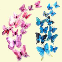 Wholesale Bedroom Curtains For Kids - Free shipping Double-layer artificial butterfly decal pvc three-dimensional wall stickers for home, Kids bedroom, curtains decoration