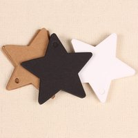 All'ingrosso 100PC Star Kraft Paper Label Matrimonio Natale Halloween Party Favore Prezzo Gift Card Tag bagagli Bianco Nero Marrone 3 colori