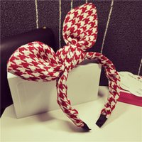 Wholesale Broad Hair Bands - Black and white houndstooth plaid rabbit ears large bow hair bands issuing Korean Korean version of the new broad-brimmed headgear 2013