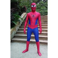 Wholesale Adult Costume Patterns - 2016 new super cool cosplay Spiderman costume Halloween costumes for kids children adults stage costumes 3D pattern High quality