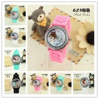 Wholesale Silicon Kids Watch - Hot Kids Children School Watches Silicon Band Clay Dial Round Dial Charming Silicon Watches Mix Colors Drop Free Shipping