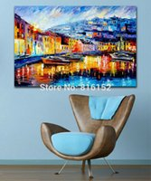 Wholesale Yacht Knife - Charming Night Scenery the Yacht in Harbor Palette Knife Oil Painting Printed On Canvas Wall Art For Hotel Office Home Decor