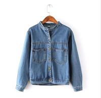 Wholesale Short Jackets For Women - Fashion 2016 Autumn Vintage Women's Jeans Loose Denim Jacket Women Short Jean Jacket jackets for women Outwear