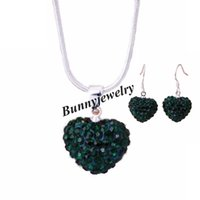 Rhinestone Heart Shape Jewelry Sets Necklace + Earrings 6 cores Escolha 24 Sets Wholesale Free Shipping