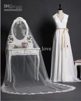 Wholesale Ivory Lace Trim Wedding Veils - Vintage White Ivory Wedding Veils Bridal Veil 3M Cathedral Floor Long Alencon Lace Trim Beaded Veil