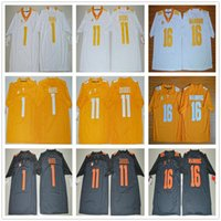 Tennessee Volunteers College 16 Maillot Peyton Manning Orange Noir Blanc Pas Cher 11 Joshua Dobbs 1 Jalen Hurd Maillots de Football Tous Cousus