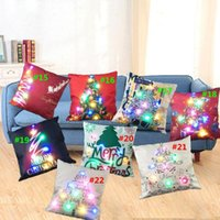 Buon Natale lampeggiante Pillow Case 45 * 45cm LED Cuscini luce Cuscino Light Up federa auto divano casa Decorazione festa di Natale