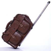 Wholesale Genuine Leather Rolls - 20 '' inches genuine leather Trolley Luggage, Vintage Suitcase, brown boarding package, Business Travel Bags Men Women Specials