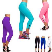 Wholesale Purple Yoga Capri - Candy Color Women Tights Capri YOGA Running Pants High Waist Cropped Leggings Fitness M-XL Sport Pants Flexible Yoga Pants