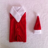 Wholesale Decorative Wine Bottle Covers - 2014 New Year Decorative Christmas Costumes Santa Cloth For Wine Bottle Covers Free Shipping