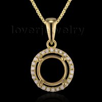 Atacado-Wonderful 7xmm Rodada Sólidos 14Kt Ouro Amarelo Diamante Natural Semi montar Pendant E0053