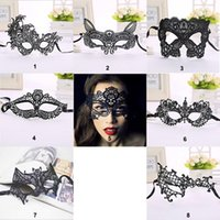 Wholesale Ladies Cat Girl Costumes - Lady Sexy Ball Lace Mask Cat Women Halloween Fancy Dress Costume Girls Catwoman Masquerade Dancing Party Eye Mask