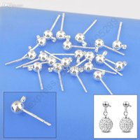 Gros-lot gros 100PCS 925 Beaux Constatations de Bijoux réel pur 925 Silver Earring Stud Ear Pin 3MM Perles Rotule